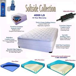King Softside waterbed with waveless bladder and water bed heaters