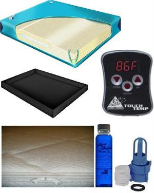 Waterbed mattress kit includes one hundred percent waveless mattress with a cotton zipper cover, liner and digital heater with conditioner and fill kit.