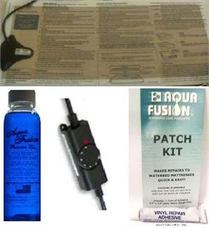 Water bed vinyl patch kit with waterbed heater and conditioner