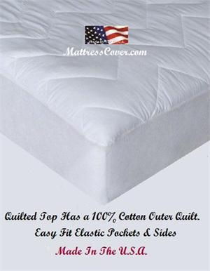 Quilted Cotton Mattress Pad for King, Queen, Full, Twin Waterbeds and Regular Beds