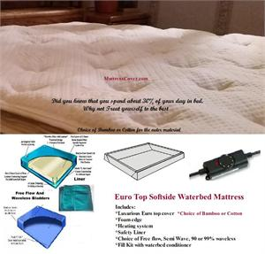 The Best softside mattress and the most comfortable available. Outer material is either organic cotton or bamboo. Your choice of water bladders
