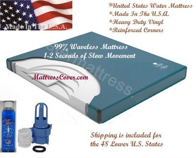 This is the waveless waterbed mattress by U.S. Water Mattress with heavy duty vinyl and reinforced corners. We have this motionless mattress at our lowest price and we have free shipping. Buy the best waterbed mattress and get it fast with free shipping.